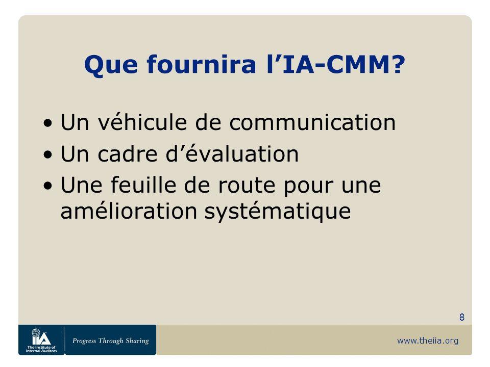 www.theiia.org 8 Que fournira lIA-CMM? Un véhicule de communication Un cadre dévaluation Une feuille de route pour une amélioration systématique
