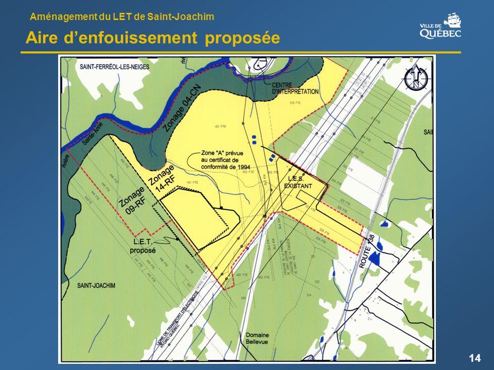 Aménagement du LET de Saint-Joachim 14 Aire denfouissement proposée