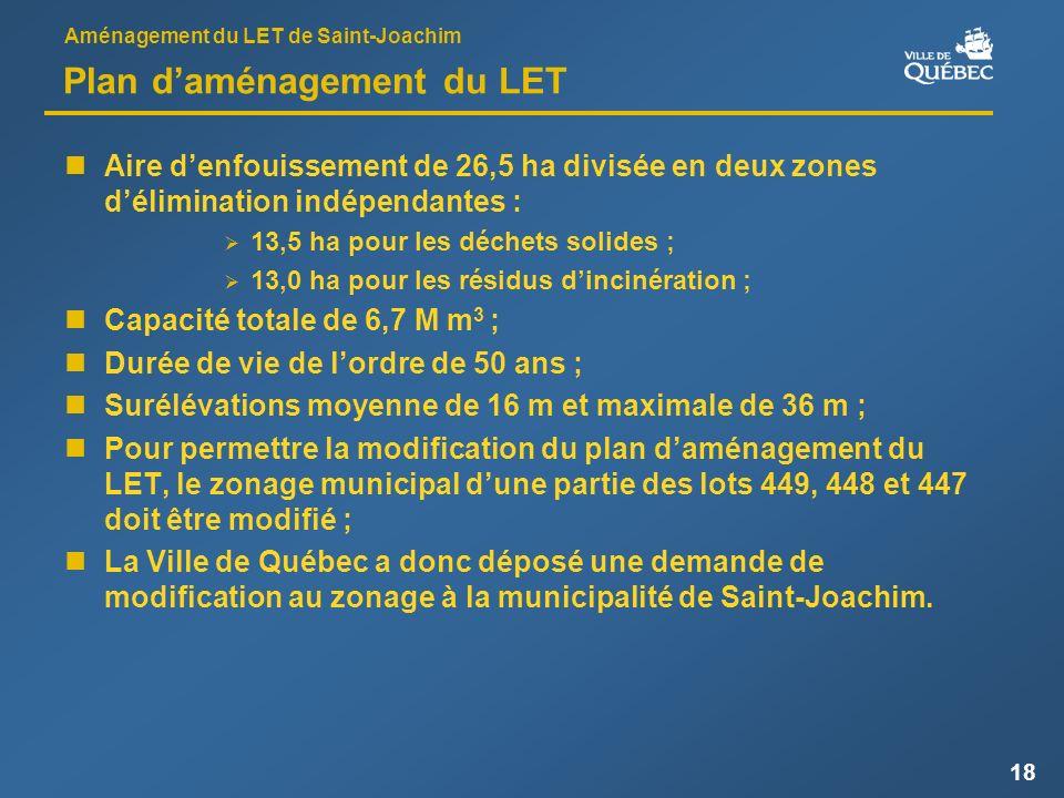 Aménagement du LET de Saint-Joachim 18 Plan daménagement du LET Aire denfouissement de 26,5 ha divisée en deux zones délimination indépendantes : 13,5 ha pour les déchets solides ; 13,0 ha pour les résidus dincinération ; Capacité totale de 6,7 M m 3 ; Durée de vie de lordre de 50 ans ; Surélévations moyenne de 16 m et maximale de 36 m ; Pour permettre la modification du plan daménagement du LET, le zonage municipal dune partie des lots 449, 448 et 447 doit être modifié ; La Ville de Québec a donc déposé une demande de modification au zonage à la municipalité de Saint-Joachim.