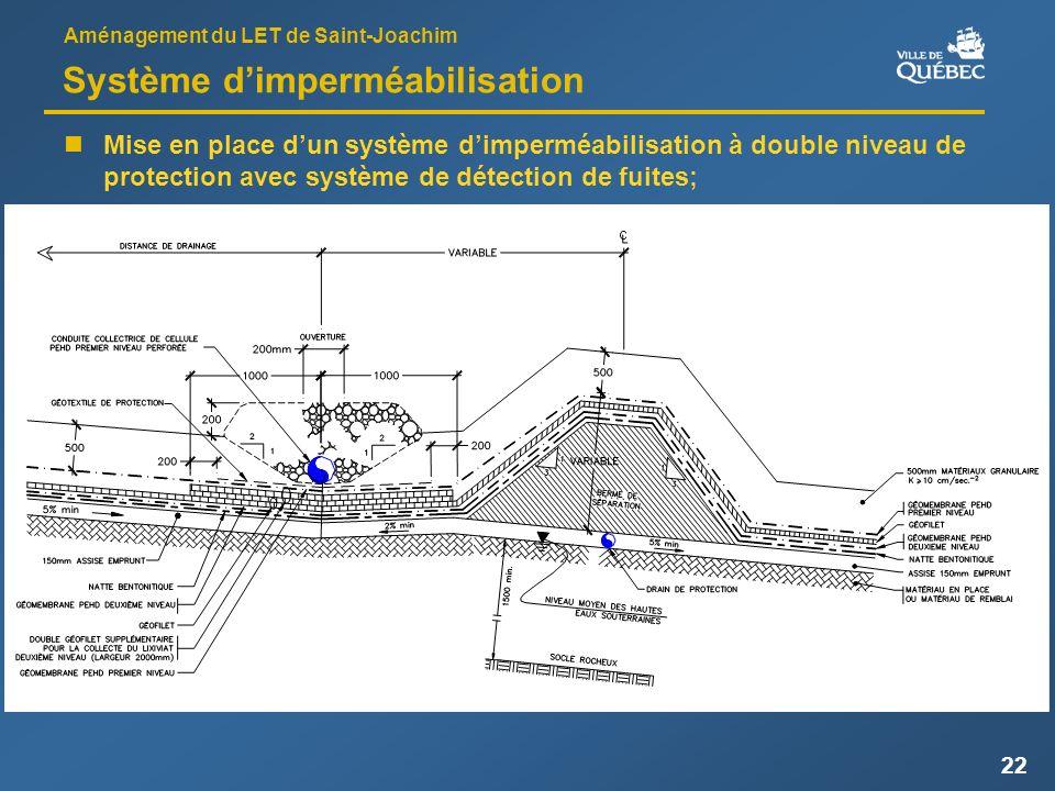 Aménagement du LET de Saint-Joachim 22 Système dimperméabilisation Mise en place dun système dimperméabilisation à double niveau de protection avec système de détection de fuites;