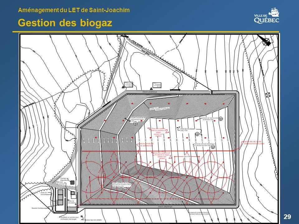 Aménagement du LET de Saint-Joachim 29 Gestion des biogaz