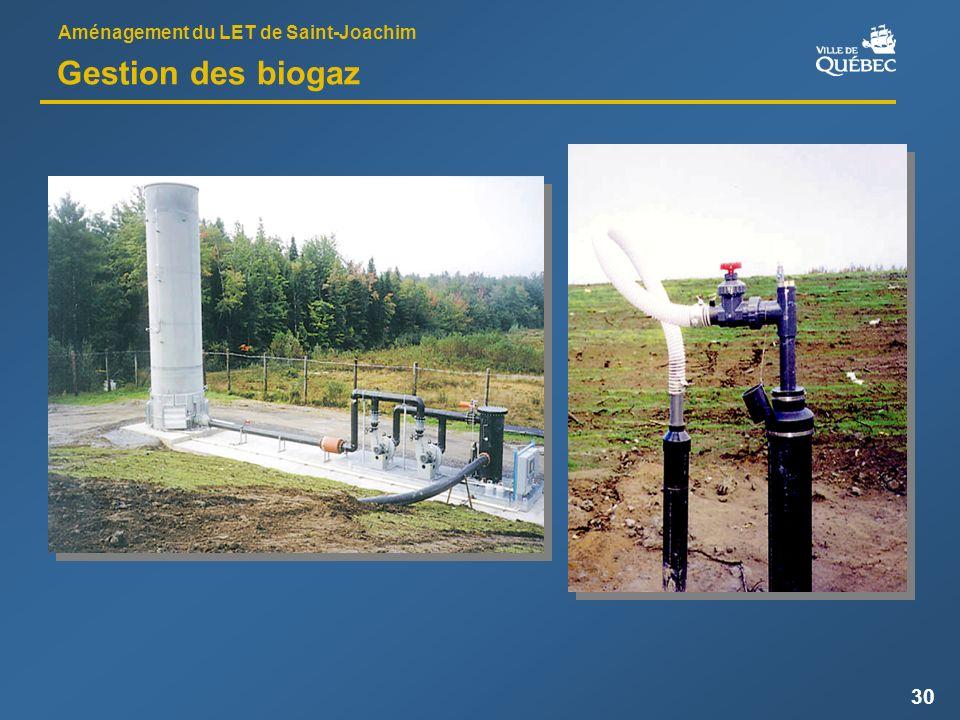 Aménagement du LET de Saint-Joachim 30 Gestion des biogaz