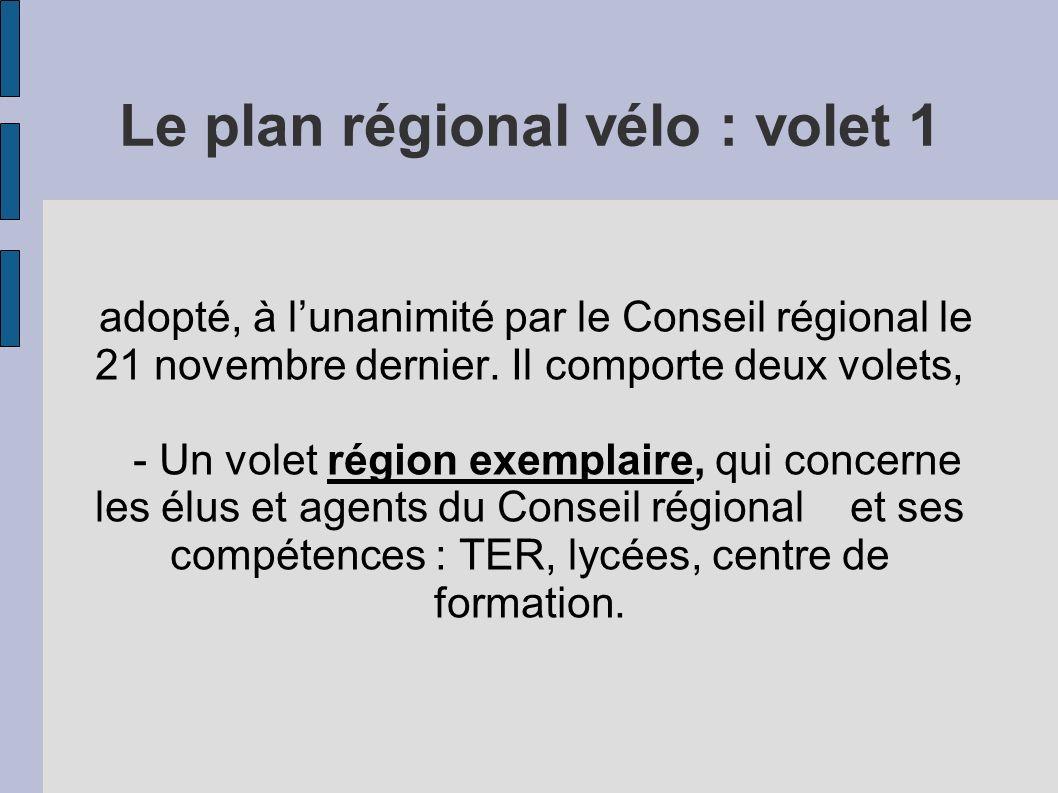 Le plan régional vélo : volet 1 adopté, à lunanimité par le Conseil régional le 21 novembre dernier.