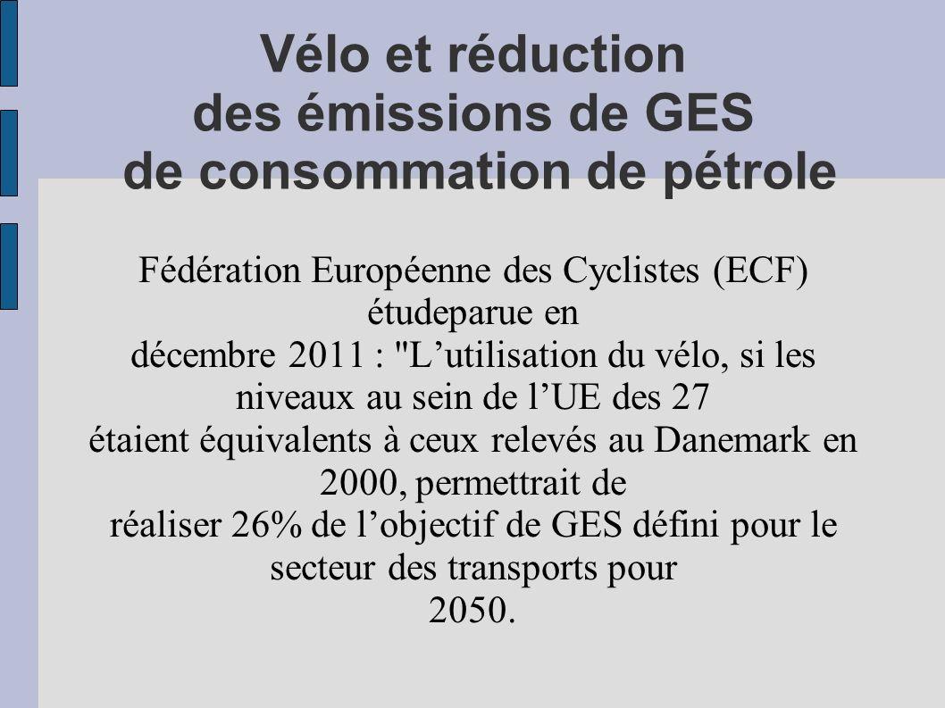 Vélo et réduction des émissions de GES de consommation de pétrole Fédération Européenne des Cyclistes (ECF) étudeparue en décembre 2011 : Lutilisation du vélo, si les niveaux au sein de lUE des 27 étaient équivalents à ceux relevés au Danemark en 2000, permettrait de réaliser 26% de lobjectif de GES défini pour le secteur des transports pour 2050.