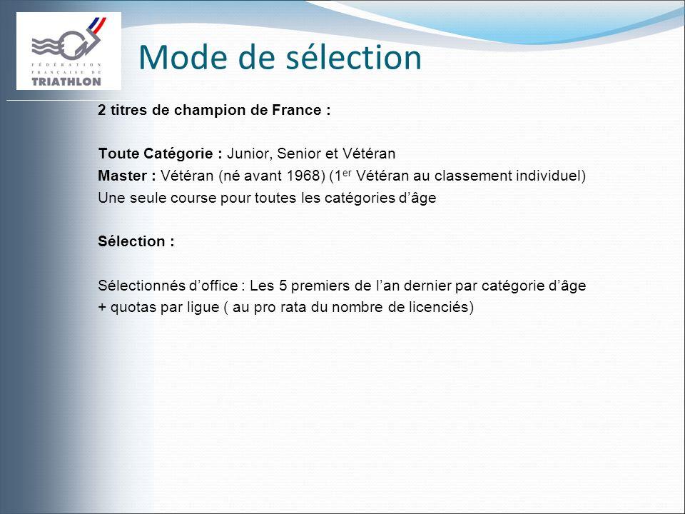 Mode de sélection 2 titres de champion de France : Toute Catégorie : Junior, Senior et Vétéran Master : Vétéran (né avant 1968) (1 er Vétéran au class