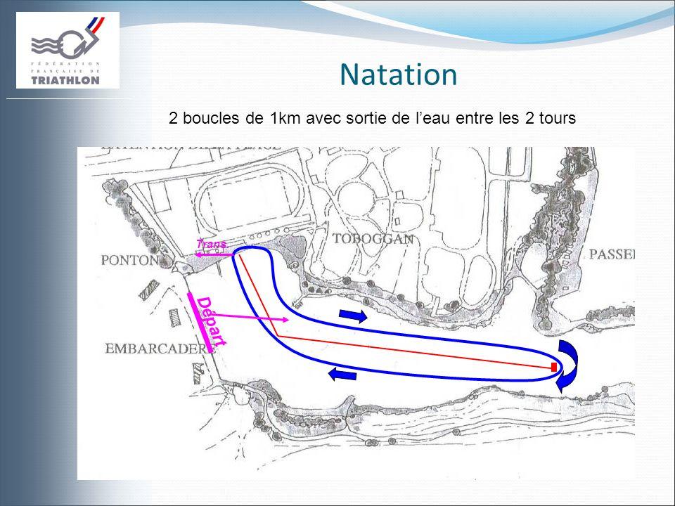 Natation Trans. Départ 2 boucles de 1km avec sortie de leau entre les 2 tours