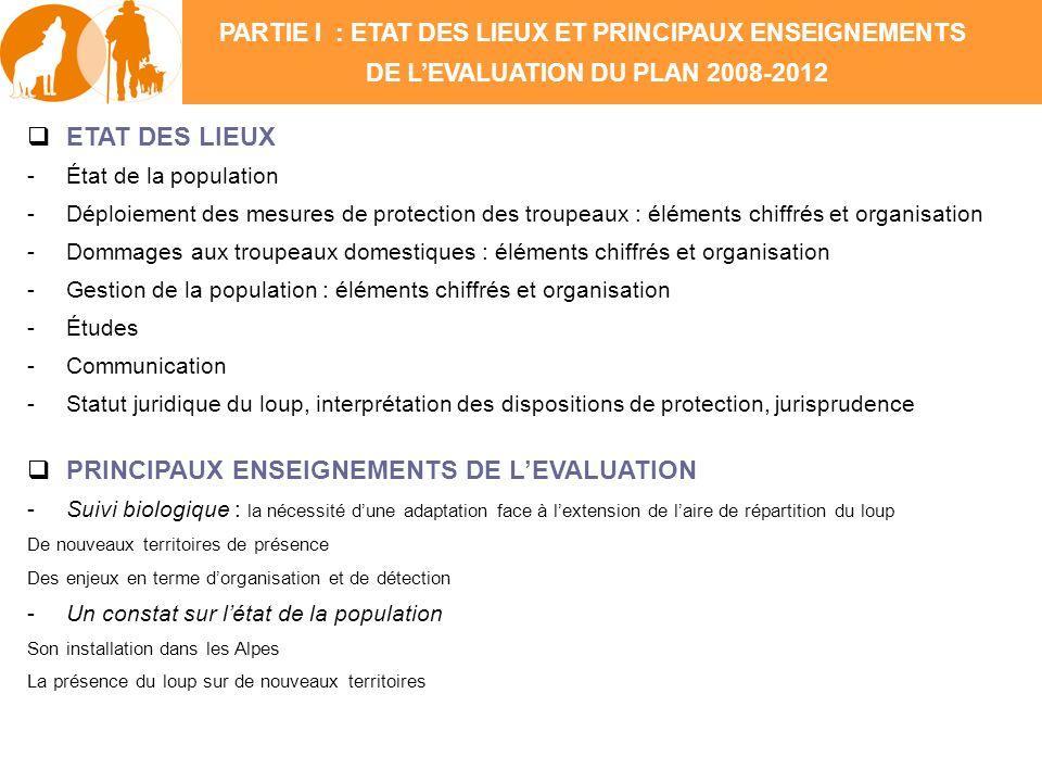 ETAT DES LIEUX -État de la population -Déploiement des mesures de protection des troupeaux : éléments chiffrés et organisation -Dommages aux troupeaux