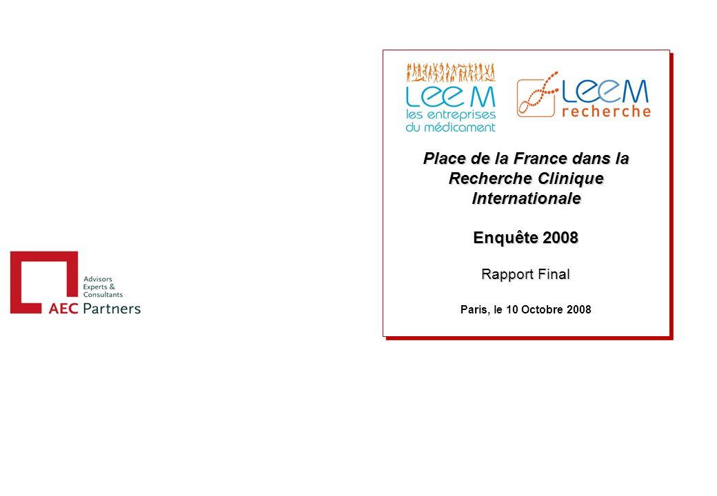 Place de la France dans la Recherche Clinique Internationale Enquête 2008 Rapport Final Paris, le 10 Octobre 2008