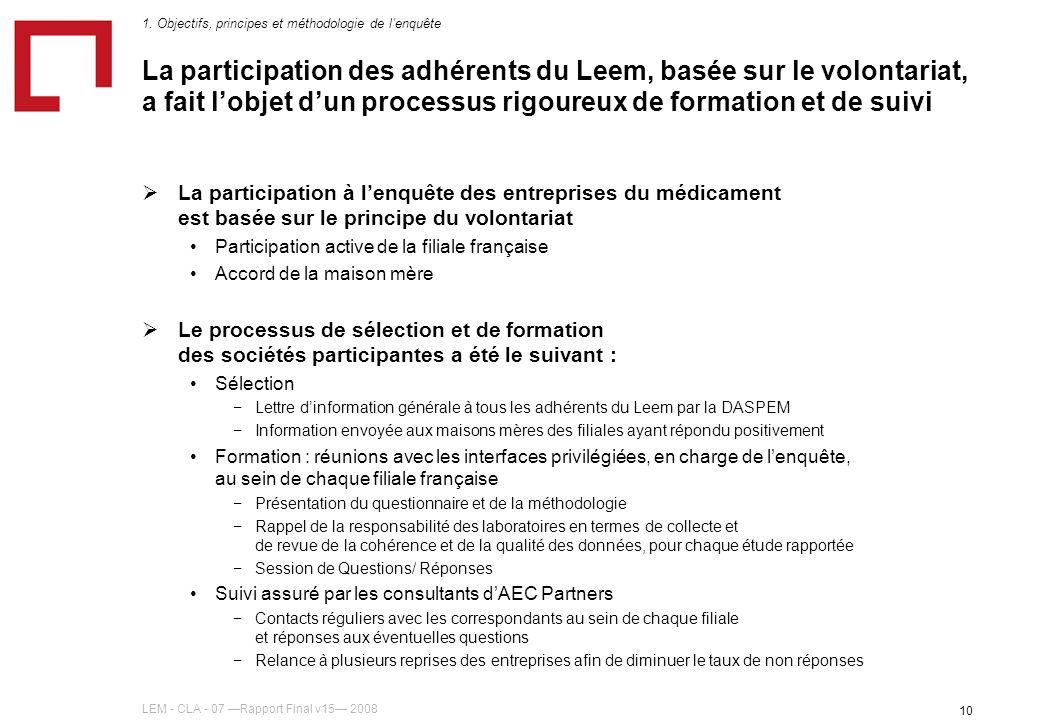 LEM - CLA - 07 Rapport Final v15 2008 10 La participation des adhérents du Leem, basée sur le volontariat, a fait lobjet dun processus rigoureux de fo