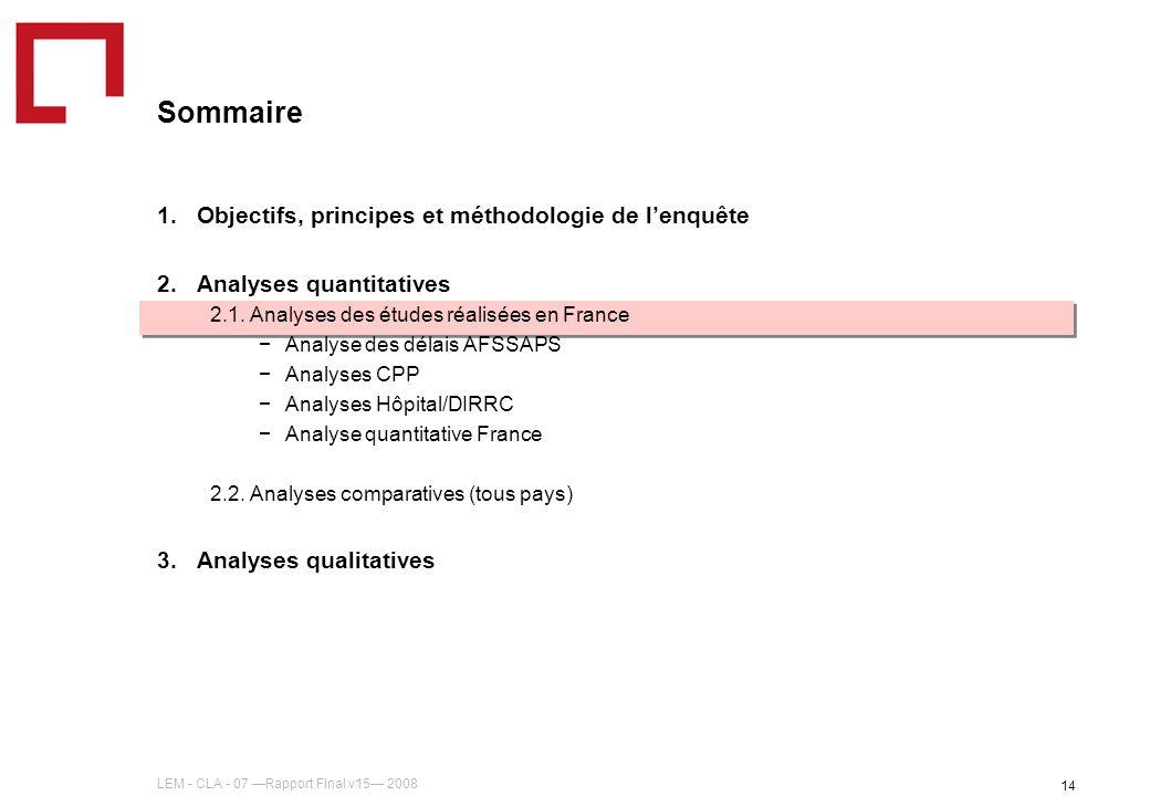 LEM - CLA - 07 Rapport Final v15 2008 14 Sommaire 1.Objectifs, principes et méthodologie de lenquête 2.Analyses quantitatives 2.1. Analyses des études