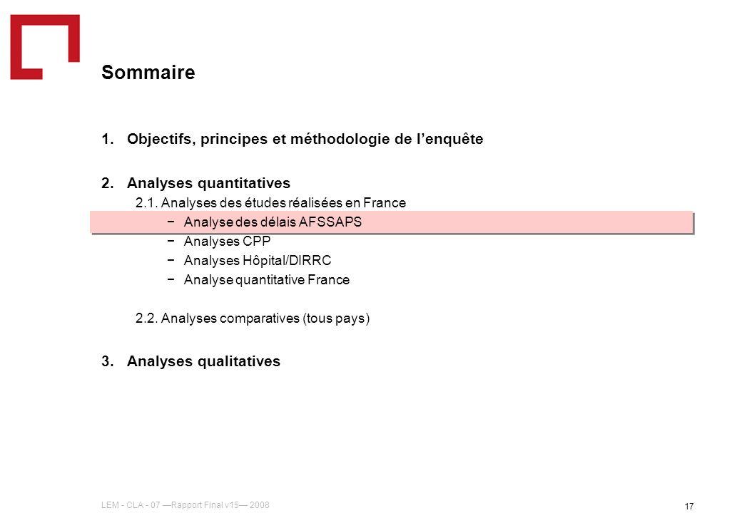 LEM - CLA - 07 Rapport Final v15 2008 17 Sommaire 1.Objectifs, principes et méthodologie de lenquête 2.Analyses quantitatives 2.1. Analyses des études