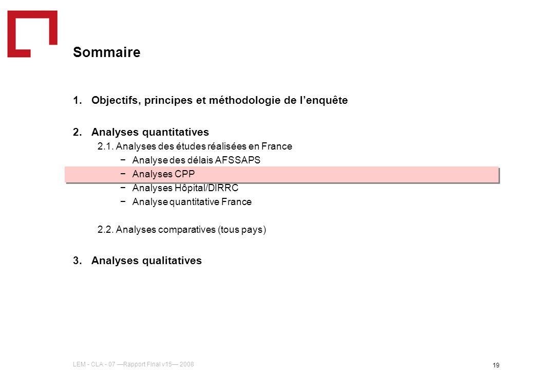 LEM - CLA - 07 Rapport Final v15 2008 19 Sommaire 1.Objectifs, principes et méthodologie de lenquête 2.Analyses quantitatives 2.1. Analyses des études