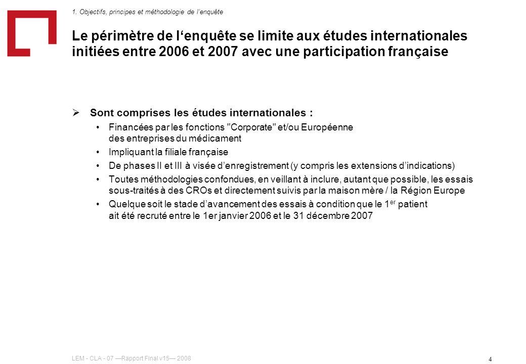 LEM - CLA - 07 Rapport Final v15 2008 4 Le périmètre de lenquête se limite aux études internationales initiées entre 2006 et 2007 avec une participati
