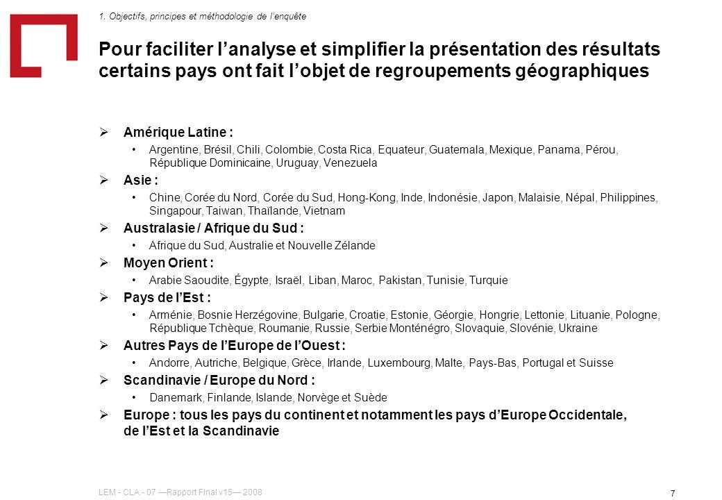 LEM - CLA - 07 Rapport Final v15 2008 7 Pour faciliter lanalyse et simplifier la présentation des résultats certains pays ont fait lobjet de regroupem