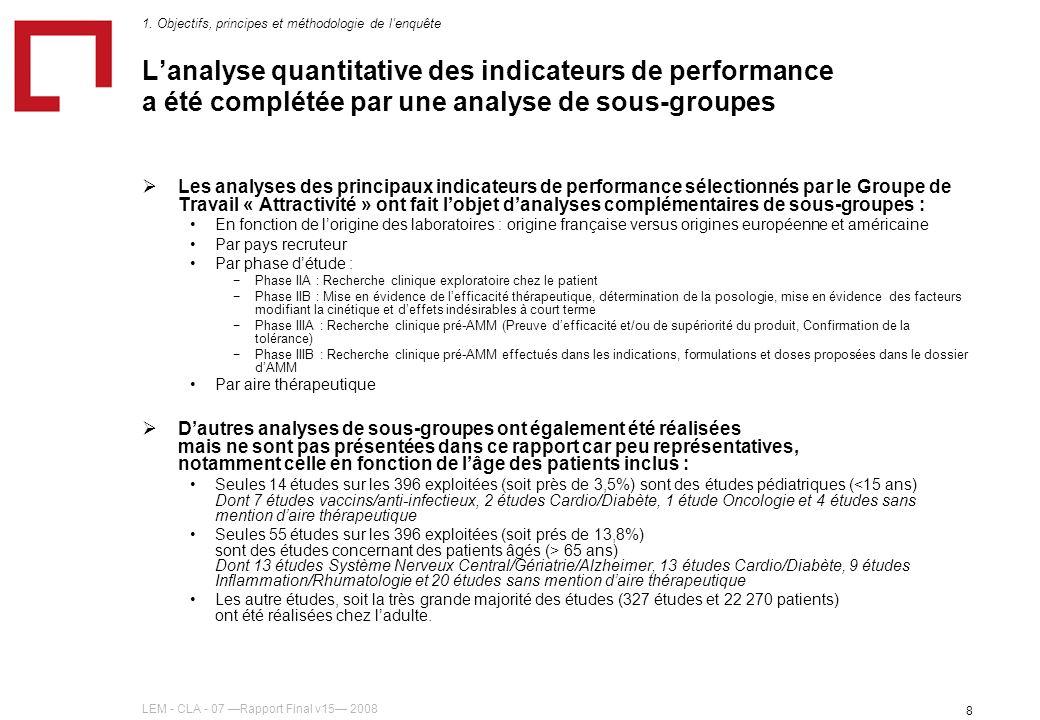 LEM - CLA - 07 Rapport Final v15 2008 8 Lanalyse quantitative des indicateurs de performance a été complétée par une analyse de sous-groupes Les analy