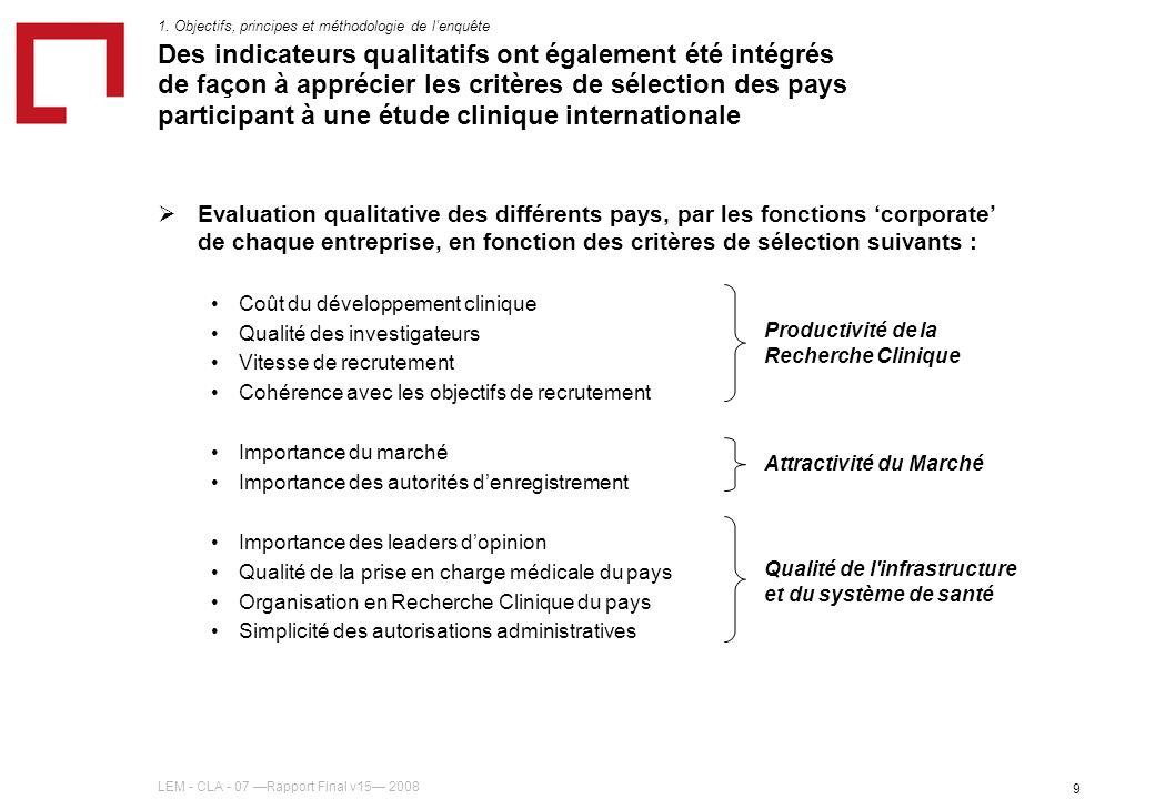 LEM - CLA - 07 Rapport Final v15 2008 9 Des indicateurs qualitatifs ont également été intégrés de façon à apprécier les critères de sélection des pays