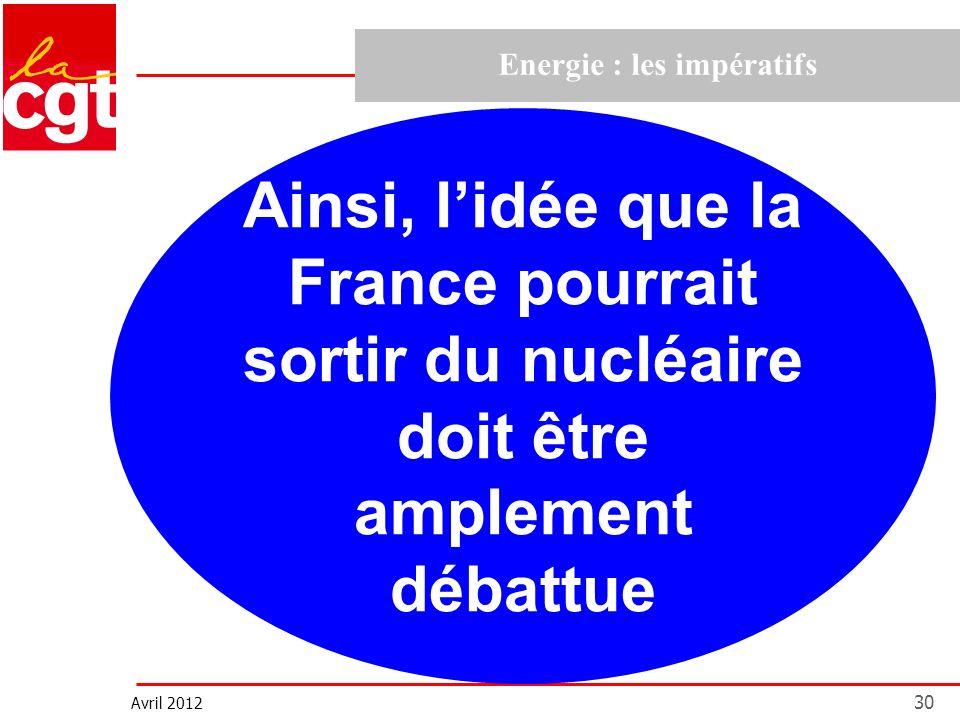 Avril 2012 30 Energie : les impératifs Ainsi, lidée que la France pourrait sortir du nucléaire doit être amplement débattue