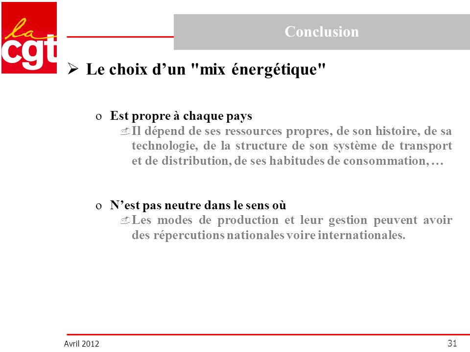 Avril 2012 31 Le choix dun