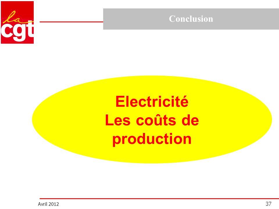 Avril 2012 37 Conclusion Electricité Les coûts de production