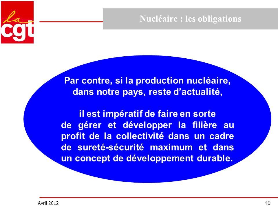 Avril 2012 40 Nucléaire : les obligations Par contre, si la production nucléaire, dans notre pays, reste dactualité, il est impératif de faire en sort