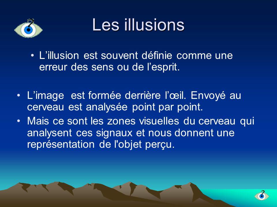 Les illusions Lillusion est souvent définie comme une erreur des sens ou de lesprit. Limage est formée derrière lœil. Envoyé au cerveau est analysée p