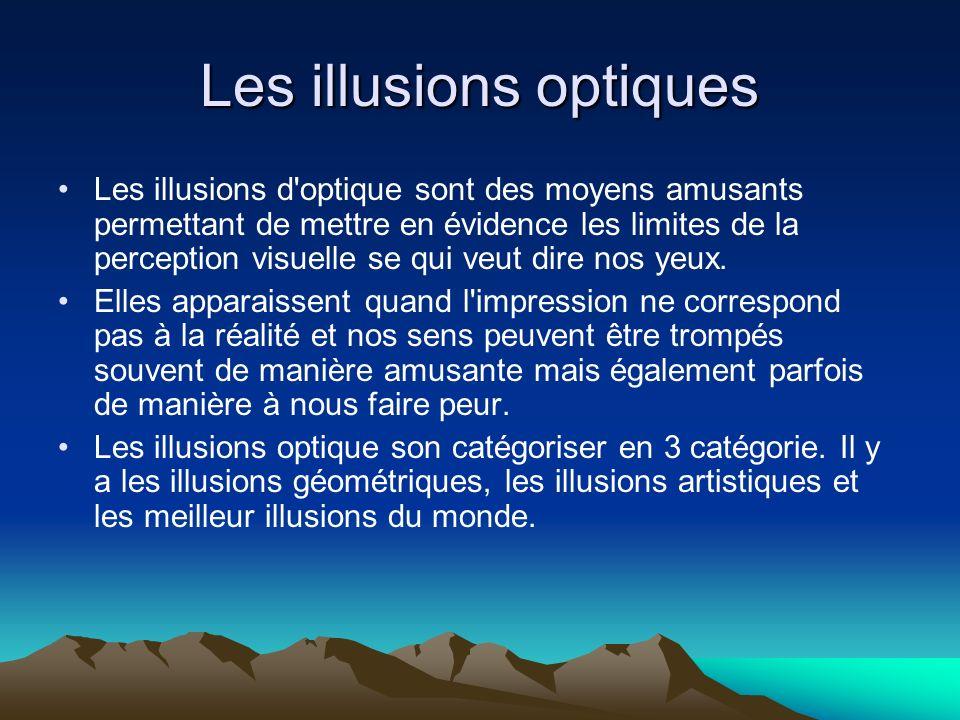 Les illusions optiques Les illusions d'optique sont des moyens amusants permettant de mettre en évidence les limites de la perception visuelle se qui