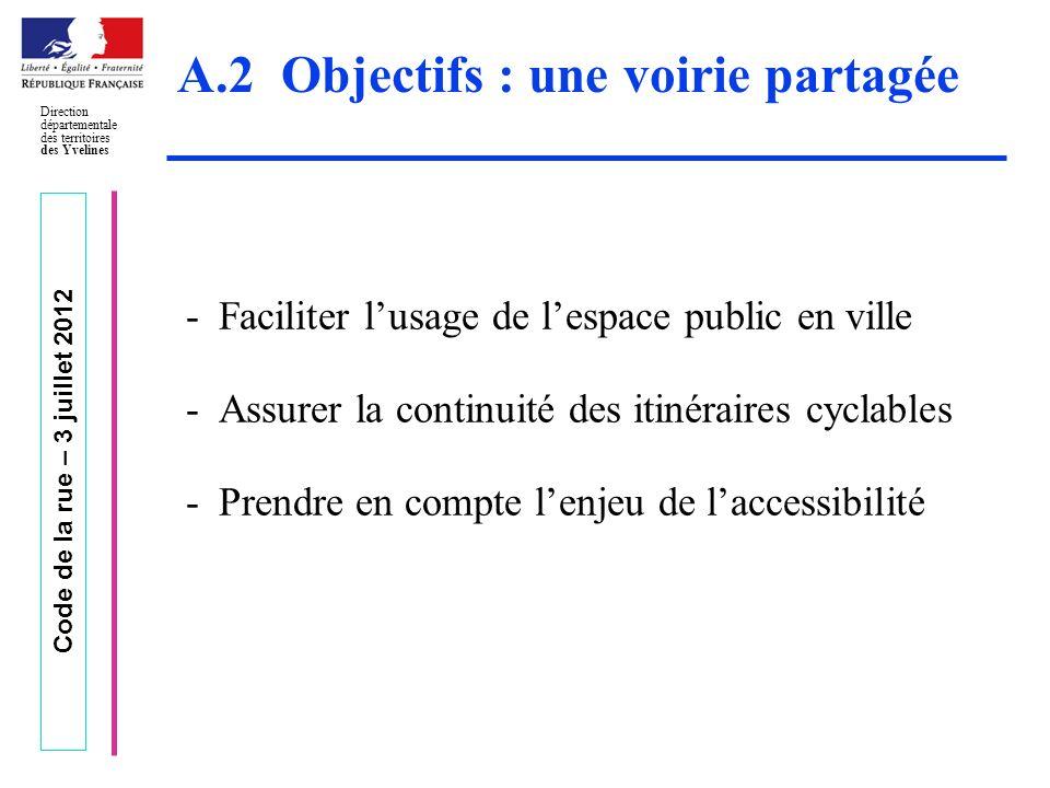 Code de la rue – 3 juillet 2012 Direction départementale des territoires des Yvelines A.2 Objectifs : une voirie partagée -Faciliter lusage de lespace