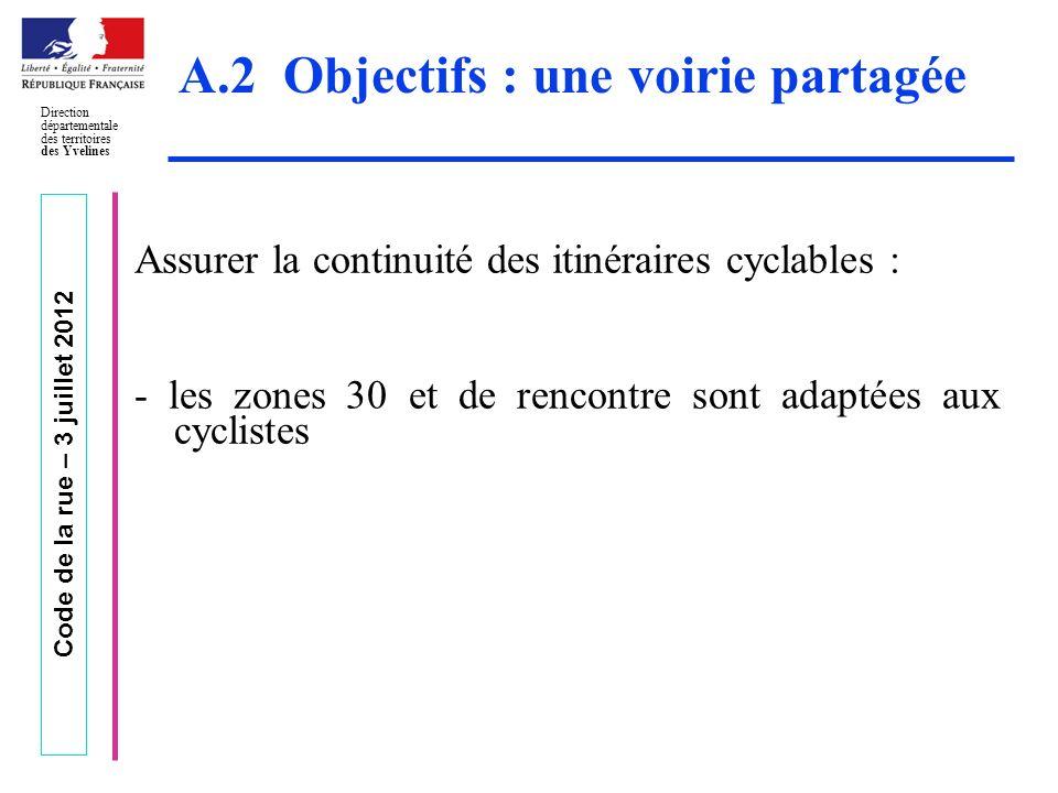 Code de la rue – 3 juillet 2012 Direction départementale des territoires des Yvelines A.2 Objectifs : une voirie partagée Assurer la continuité des it
