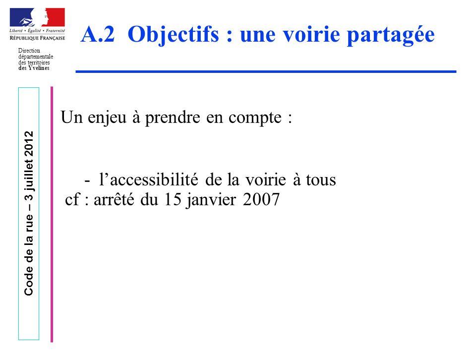 Code de la rue – 3 juillet 2012 Direction départementale des territoires des Yvelines A.2 Objectifs : une voirie partagée Un enjeu à prendre en compte