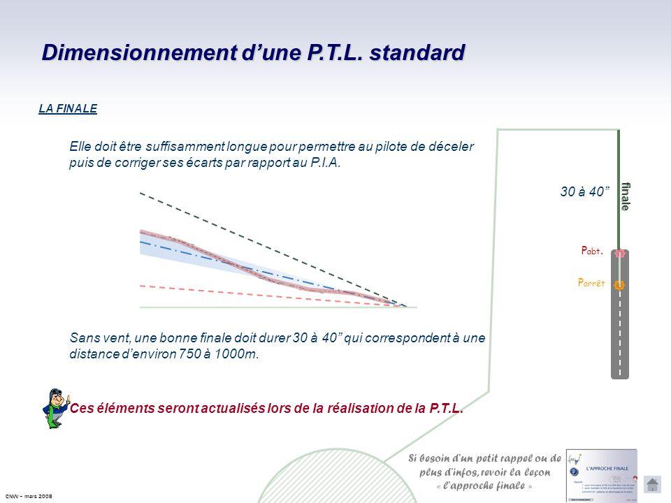 Dimensionnement dune P.T.L. standard P abt. P arrêt Dans des conditions normales de vent et de freinage, la distance entre le point d'aboutissement et