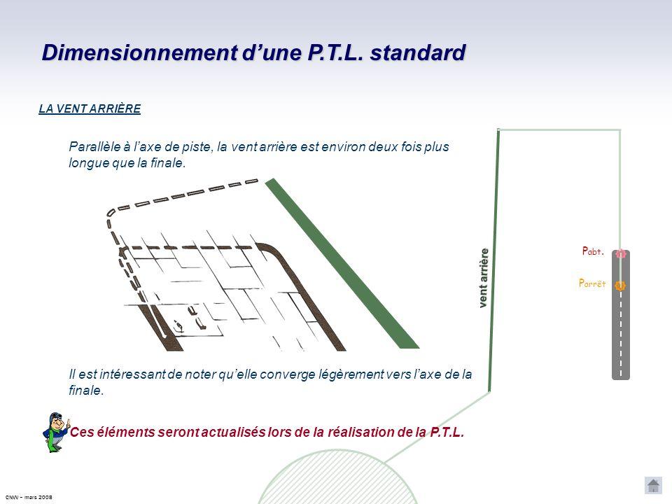 Dimensionnement dune P.T.L. standard P abt. P arrêt Perpendiculaire à laxe de piste, létape de base a sensiblement la même longueur que la finale. CNV