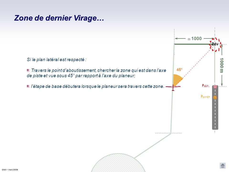 CNVV CNVV – mars 2008 Plus on retarde le virage en étape de base (après le passage par le travers du point daboutissement recherché), plus la finale s