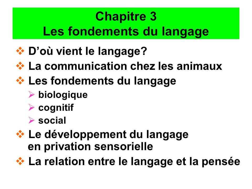 Chapitre 3 Les fondements du langage Doù vient le langage? La communication chez les animaux Les fondements du langage biologique cognitif social Le d