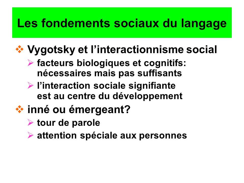 Les fondements sociaux du langage Vygotsky et linteractionnisme social facteurs biologiques et cognitifs: nécessaires mais pas suffisants linteraction
