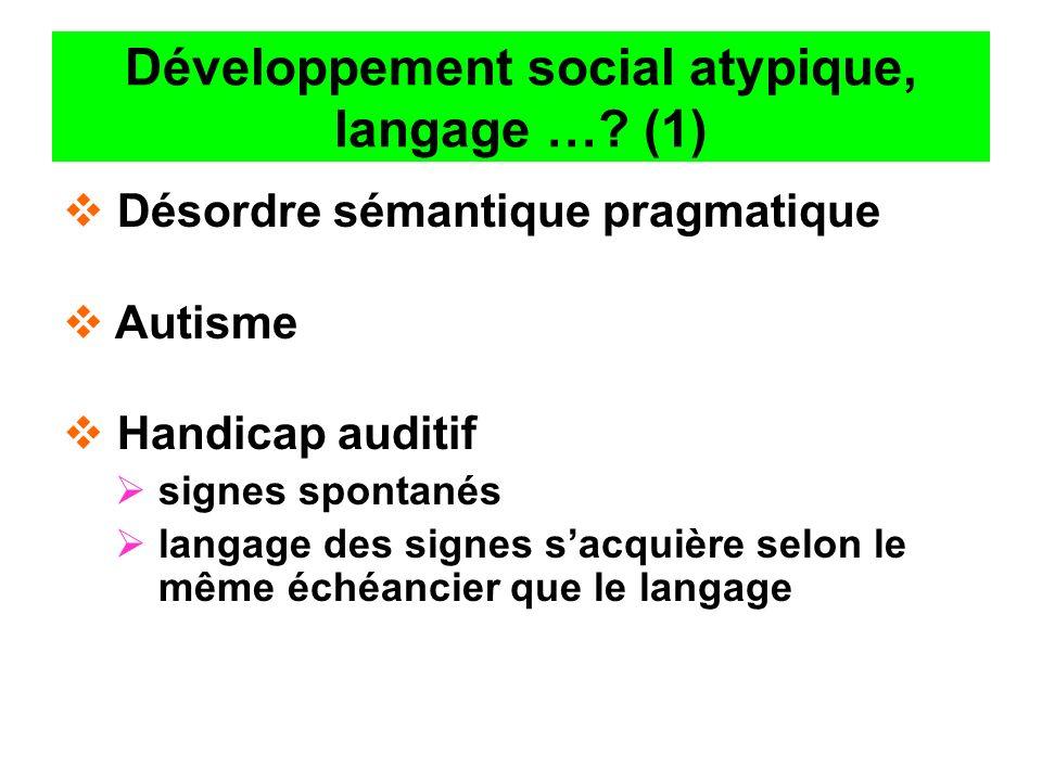 Développement social atypique, langage …? (1) Désordre sémantique pragmatique Autisme Handicap auditif signes spontanés langage des signes sacquière s