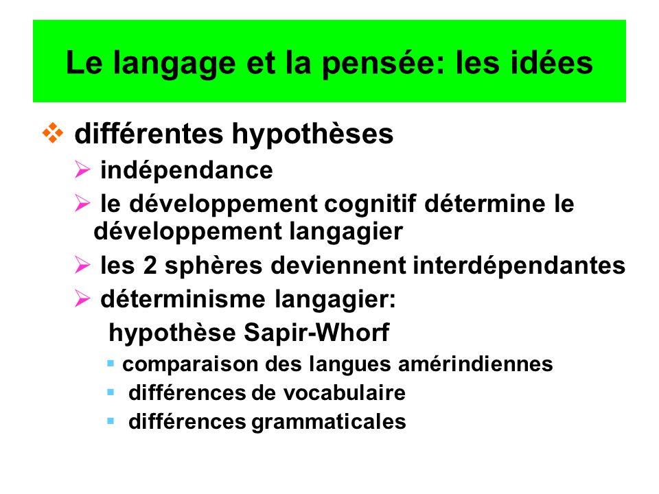 Le langage et la pensée: les idées différentes hypothèses indépendance le développement cognitif détermine le développement langagier les 2 sphères de