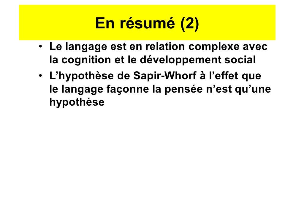 Le langage est en relation complexe avec la cognition et le développement social Lhypothèse de Sapir-Whorf à leffet que le langage façonne la pensée n