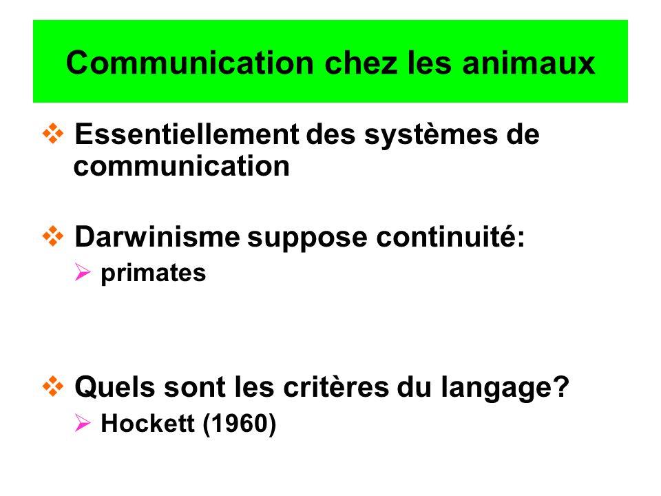 Communication chez les animaux Essentiellement des systèmes de communication Darwinisme suppose continuité: primates Quels sont les critères du langag