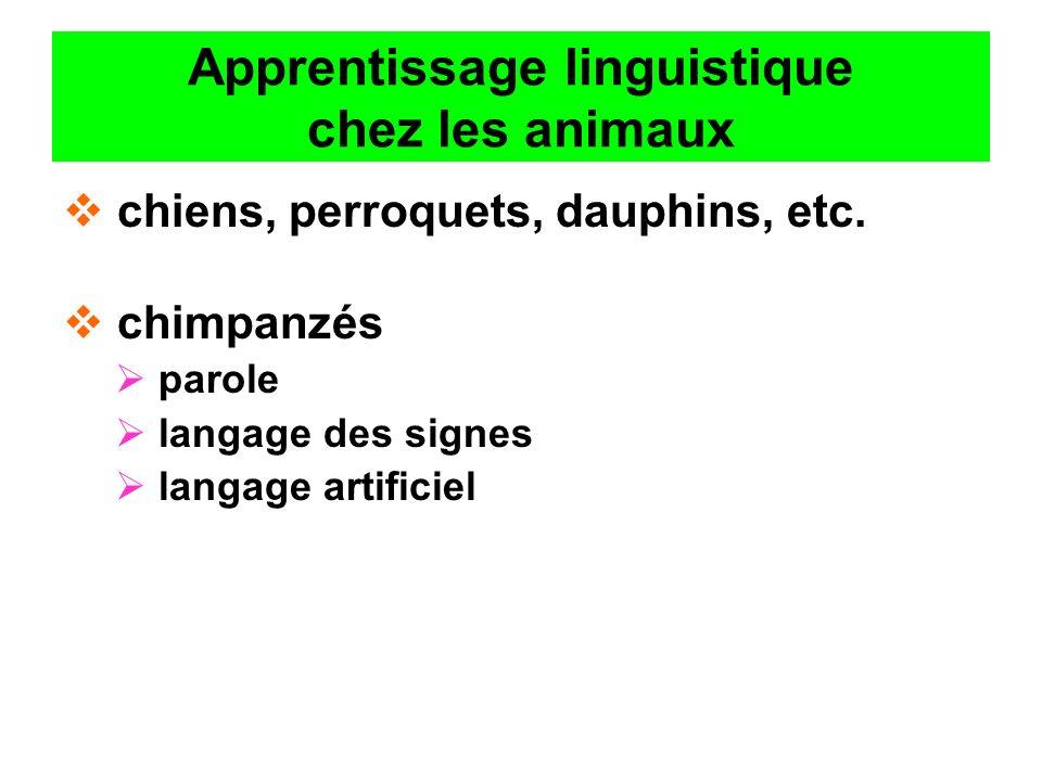 Apprentissage linguistique chez les animaux chiens, perroquets, dauphins, etc. chimpanzés parole langage des signes langage artificiel