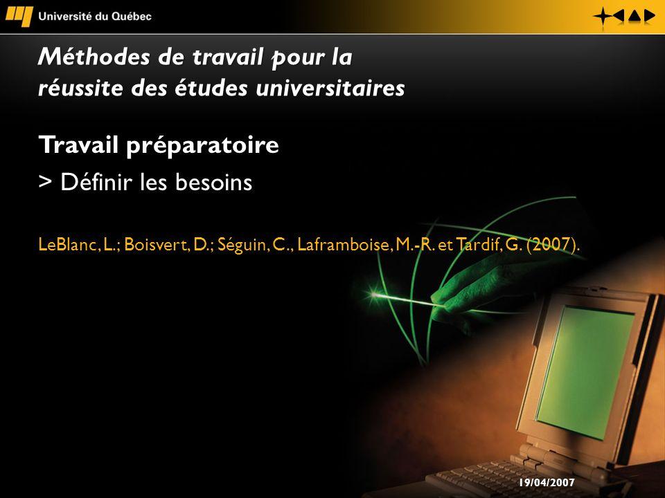 Travail préparatoire > Définir les besoins LeBlanc, L.; Boisvert, D.; Séguin, C., Laframboise, M.-R. et Tardif, G. (2007). Méthodes de travail pour la