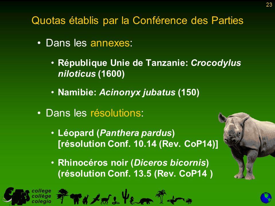 23 Quotas établis par la Conférence des Parties Dans les annexes: République Unie de Tanzanie: Crocodylus niloticus (1600) Namibie: Acinonyx jubatus (150) Dans les résolutions: Léopard (Panthera pardus) [résolution Conf.