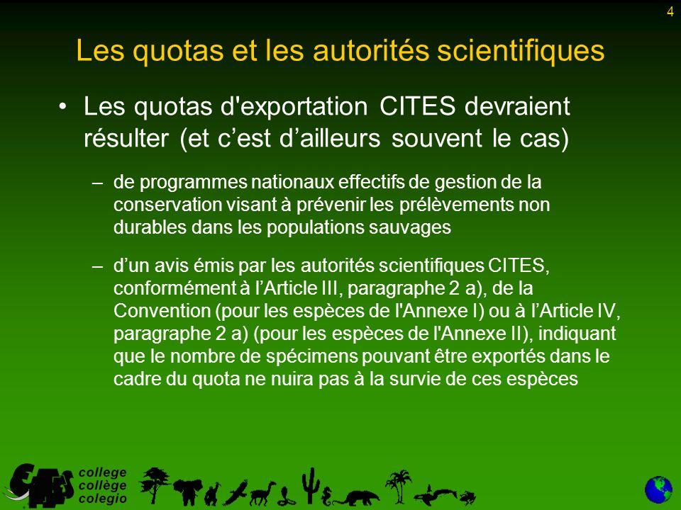 25 Quotas établis par la Conférence des Parties Lapproche biogéographique pourrait être envisagée à lavenir pour dautres espèces –en particulier lorsque les quotas nationaux ne permettent pas de garantir la durabilité des prélèvements dans des populations migratrices ou partagées
