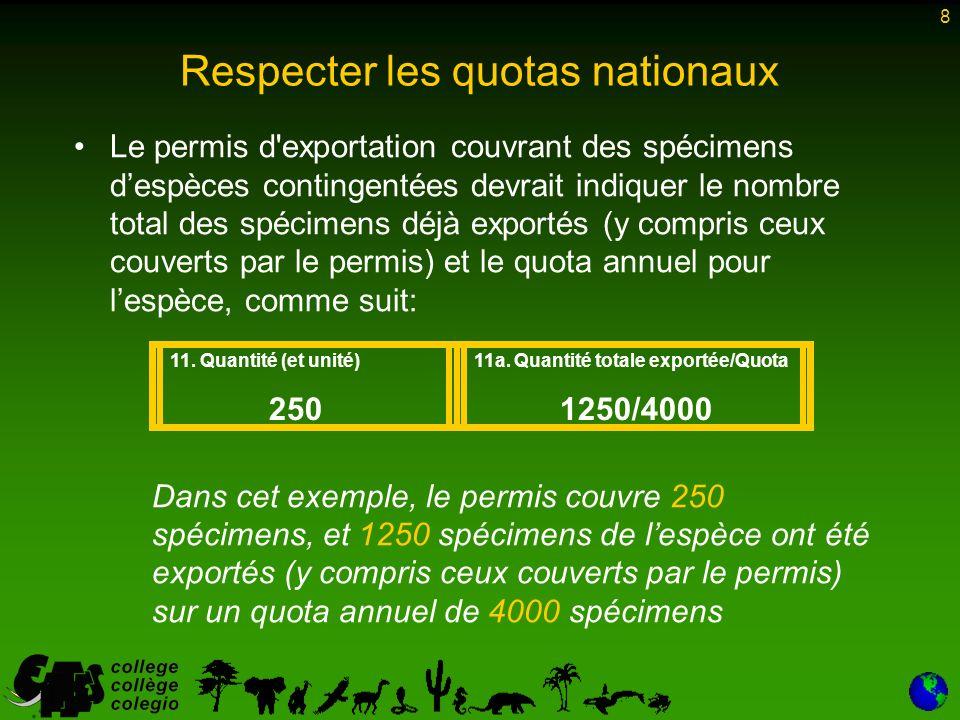 8 Le permis d exportation couvrant des spécimens despèces contingentées devrait indiquer le nombre total des spécimens déjà exportés (y compris ceux couverts par le permis) et le quota annuel pour lespèce, comme suit: Dans cet exemple, le permis couvre 250 spécimens, et 1250 spécimens de lespèce ont été exportés (y compris ceux couverts par le permis) sur un quota annuel de 4000 spécimens 11.