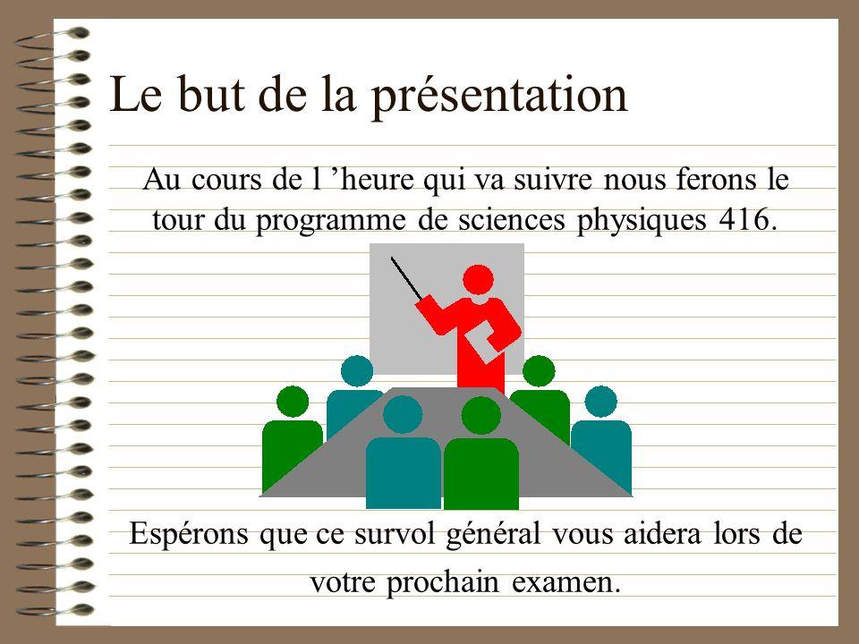 Le but de la présentation Au cours de l heure qui va suivre nous ferons le tour du programme de sciences physiques 416.