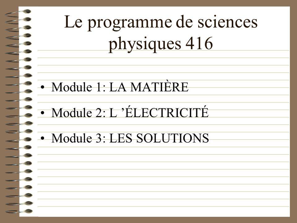 Le programme de sciences physiques 416 Module 1: LA MATIÈRE Module 2: L ÉLECTRICITÉ Module 3: LES SOLUTIONS