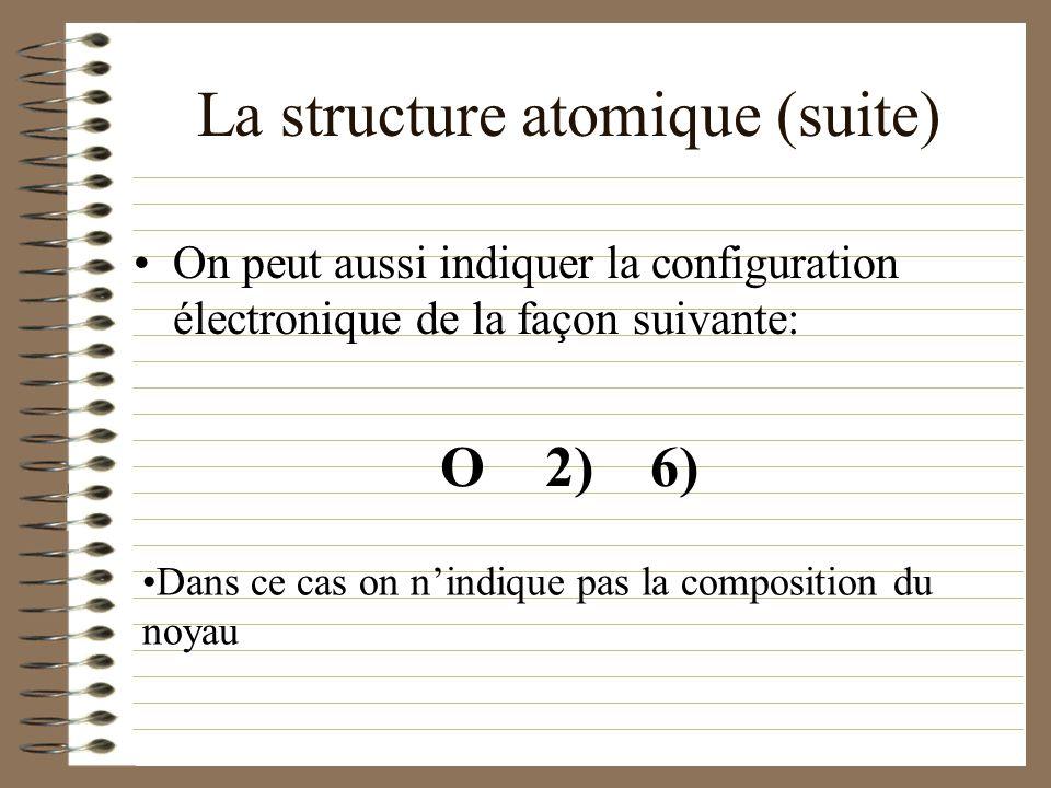La structure atomique (suite) Deuxième période donc Deux couches électroniques Numéro 8 donc 8 protons Masse atomique de 16 donc 8 protons et 8 neutrons L atome d oxygène