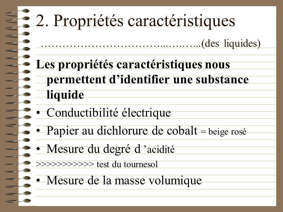 2. Propriétés caractéristiques …………………………...……….…...(des gaz) Des tests caractéristiques nous permettent d identifier une substance gazeuse >>>>>>>>>>