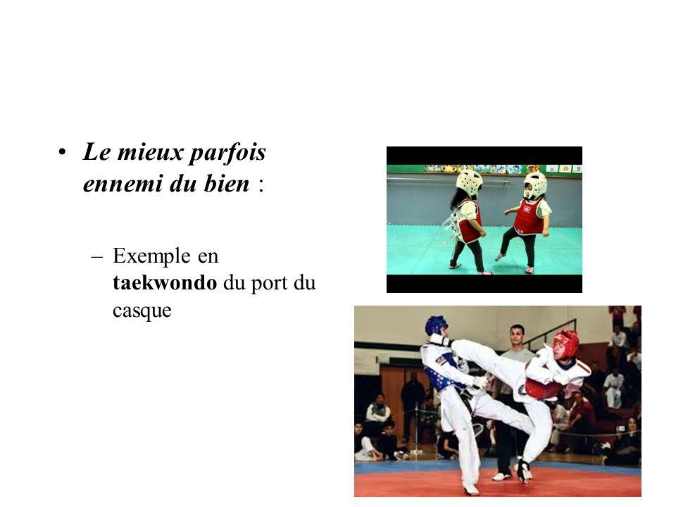 Le mieux parfois ennemi du bien : –Exemple en taekwondo du port du casque
