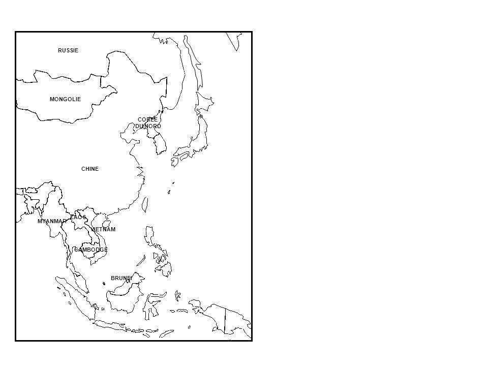 CHINE MYANMAR BRUNEI CAMBODGE VIETNAM LAOS RUSSIE MONGOLIE COREE DU NORD