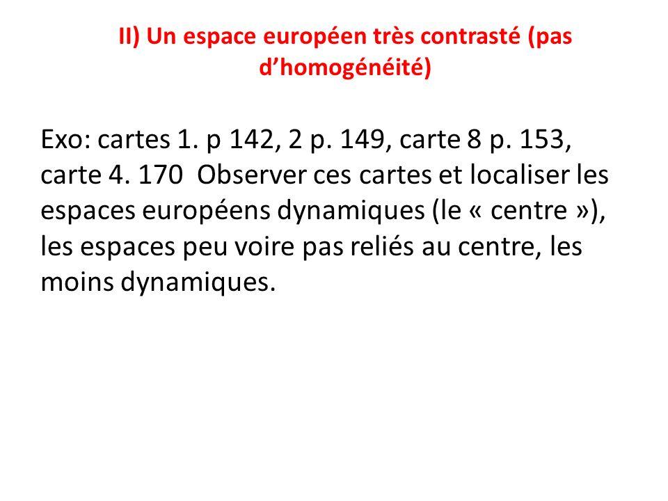 II) Un espace européen très contrasté (pas dhomogénéité) Exo: cartes 1.